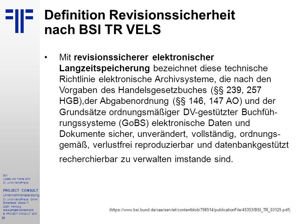 55 EIM Update und Trends 2010 Dr. Ulrich Kampffmeyer PROJECT CONSULT Unternehmensberatung Dr. Ulrich Kampffmeyer GmbH Breitenfelder Straße 17 20251 Ha