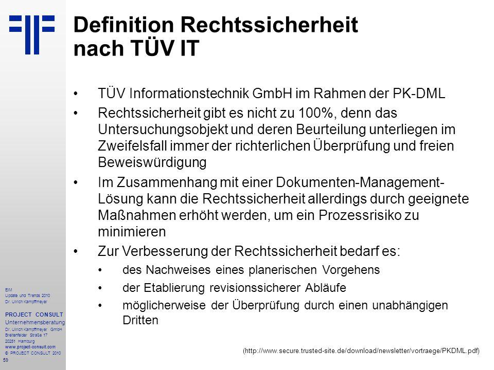 59 EIM Update und Trends 2010 Dr. Ulrich Kampffmeyer PROJECT CONSULT Unternehmensberatung Dr. Ulrich Kampffmeyer GmbH Breitenfelder Straße 17 20251 Ha
