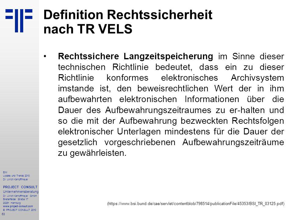 63 EIM Update und Trends 2010 Dr. Ulrich Kampffmeyer PROJECT CONSULT Unternehmensberatung Dr. Ulrich Kampffmeyer GmbH Breitenfelder Straße 17 20251 Ha