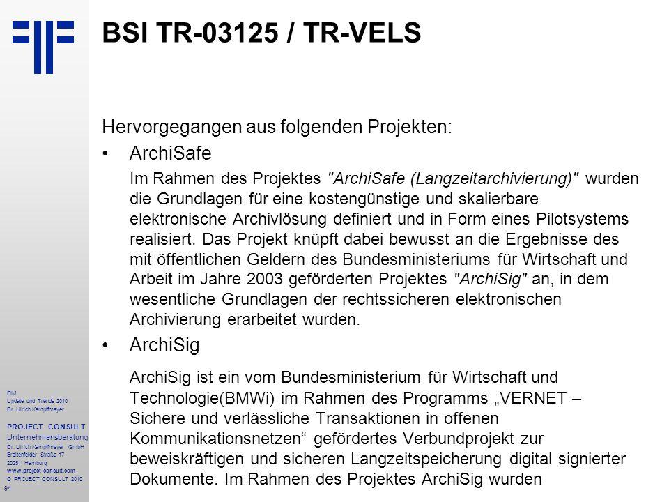 94 EIM Update und Trends 2010 Dr. Ulrich Kampffmeyer PROJECT CONSULT Unternehmensberatung Dr. Ulrich Kampffmeyer GmbH Breitenfelder Straße 17 20251 Ha