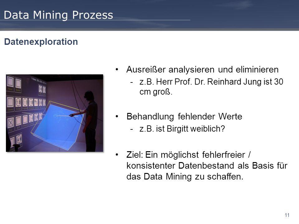 11 Data Mining Prozess Datenexploration Ausreißer analysieren und eliminieren -z.B. Herr Prof. Dr. Reinhard Jung ist 30 cm groß. Behandlung fehlender
