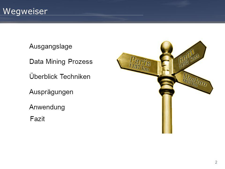 2 Wegweiser Ausgangslage Data Mining Prozess Überblick Techniken Ausprägungen Anwendung Fazit