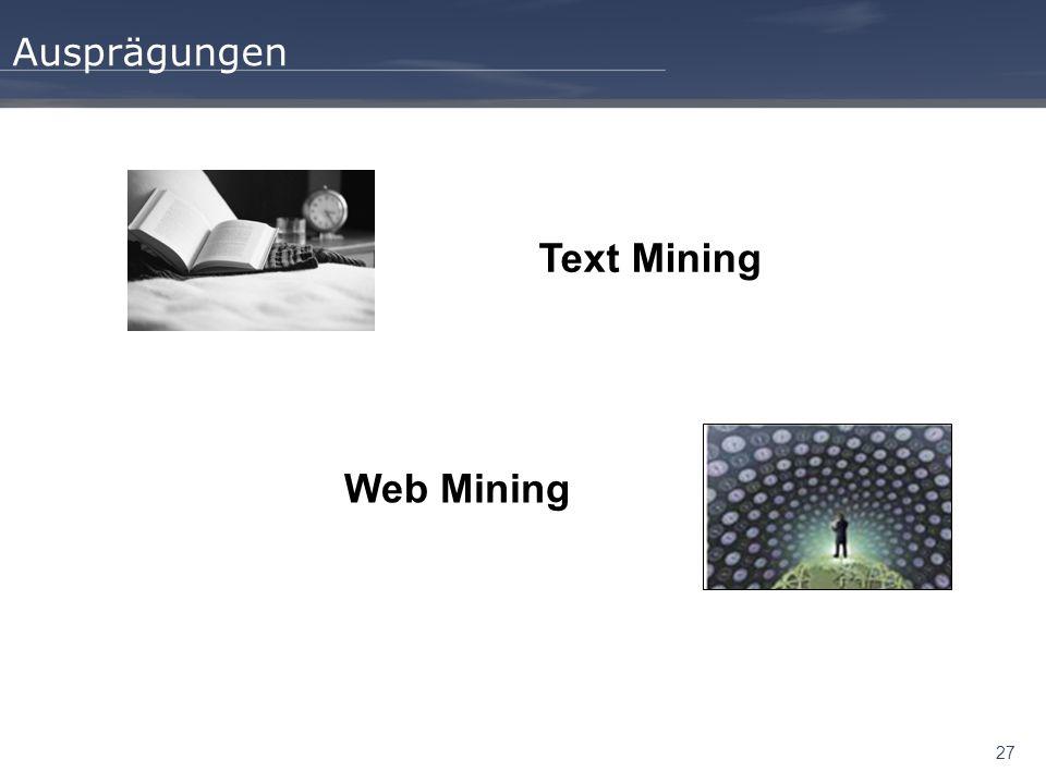 27 Ausprägungen Text Mining Web Mining