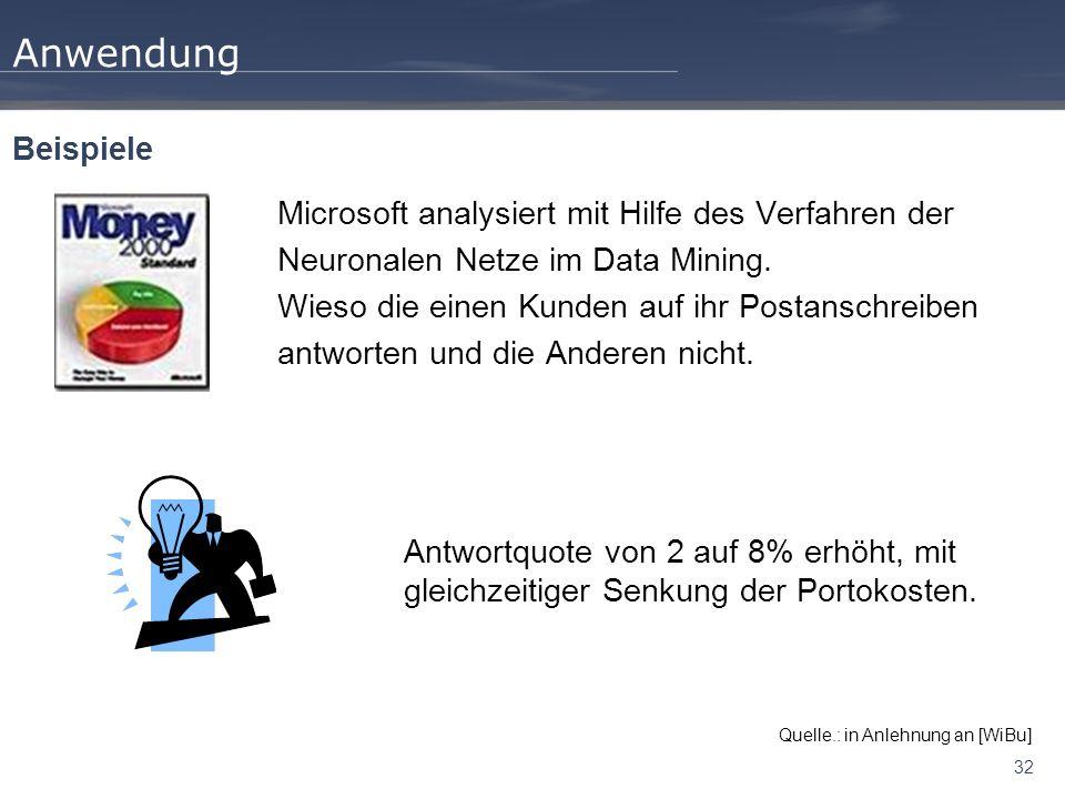 32 Anwendung Microsoft analysiert mit Hilfe des Verfahren der Neuronalen Netze im Data Mining. Wieso die einen Kunden auf ihr Postanschreiben antworte