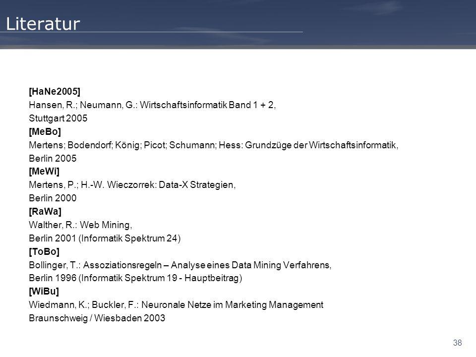38 Literatur [HaNe2005] Hansen, R.; Neumann, G.: Wirtschaftsinformatik Band 1 + 2, Stuttgart 2005 [MeBo] Mertens; Bodendorf; König; Picot; Schumann; H