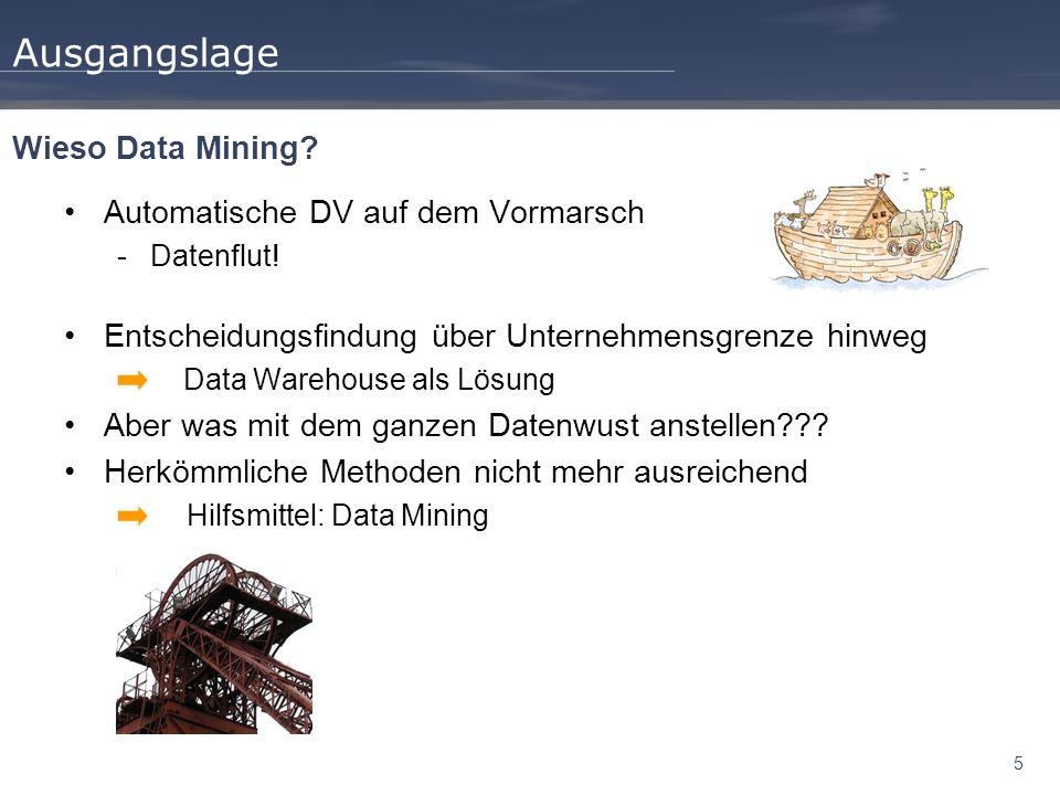 26 Wegweiser Ausgangslage Data Mining Prozess Überblick Techniken Ausprägungen Anwendung Fazit