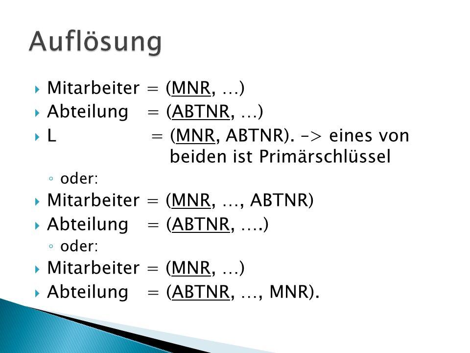 Mitarbeiter = (MNR, …) Abteilung = (ABTNR, …) L = (MNR, ABTNR).