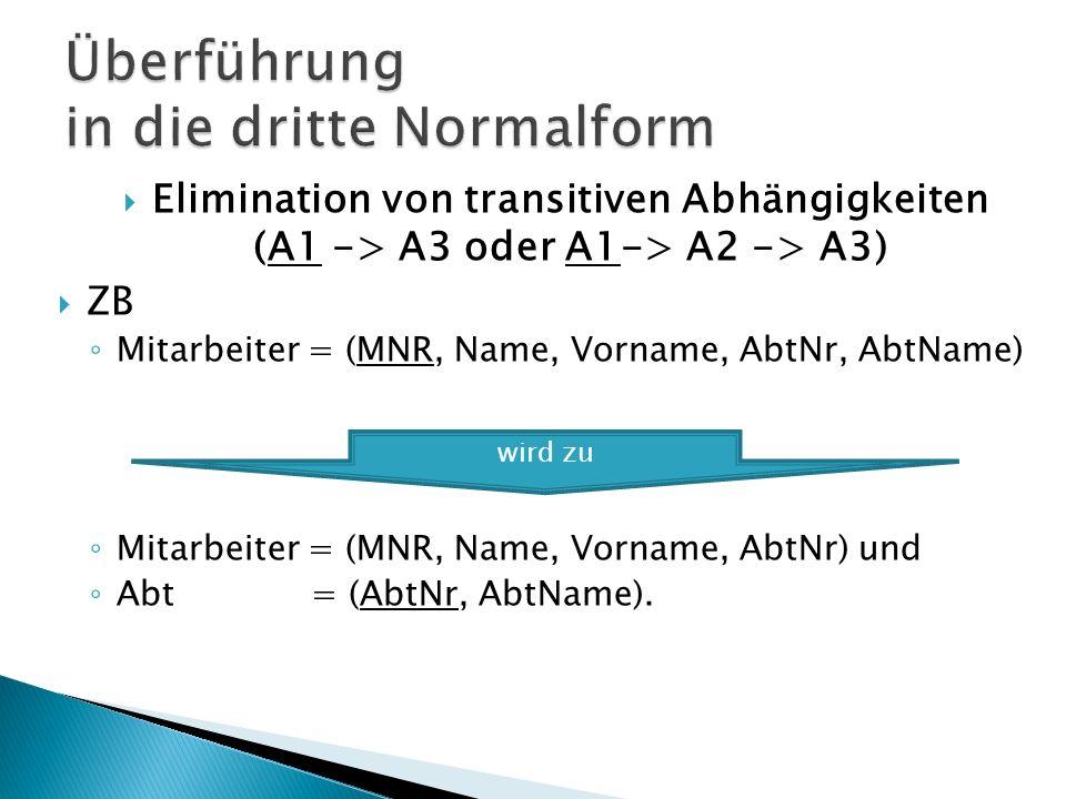 Elimination von transitiven Abhängigkeiten (A1 -> A3 oder A1-> A2 -> A3) ZB Mitarbeiter = (MNR, Name, Vorname, AbtNr, AbtName) Mitarbeiter = (MNR, Name, Vorname, AbtNr) und Abt = (AbtNr, AbtName).