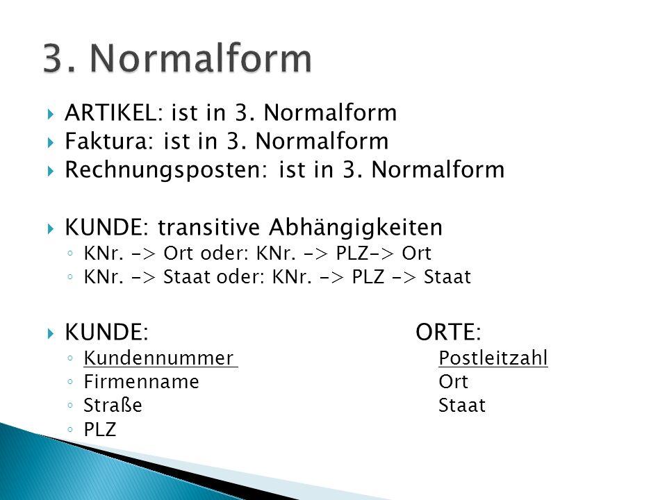 ARTIKEL: ist in 3. Normalform Faktura: ist in 3. Normalform Rechnungsposten: ist in 3.
