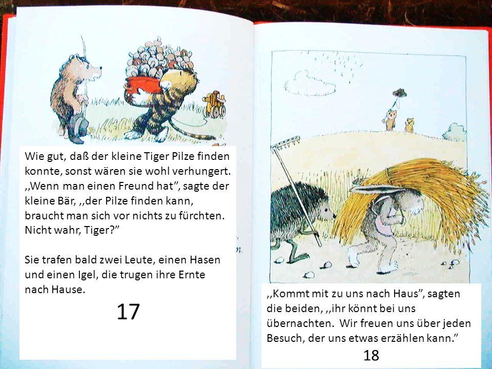 Wie gut, daß der kleine Tiger Pilze finden konnte, sonst wären sie wohl verhungert.,,Wenn man einen Freund hat, sagte der kleine Bär,,,der Pilze finde