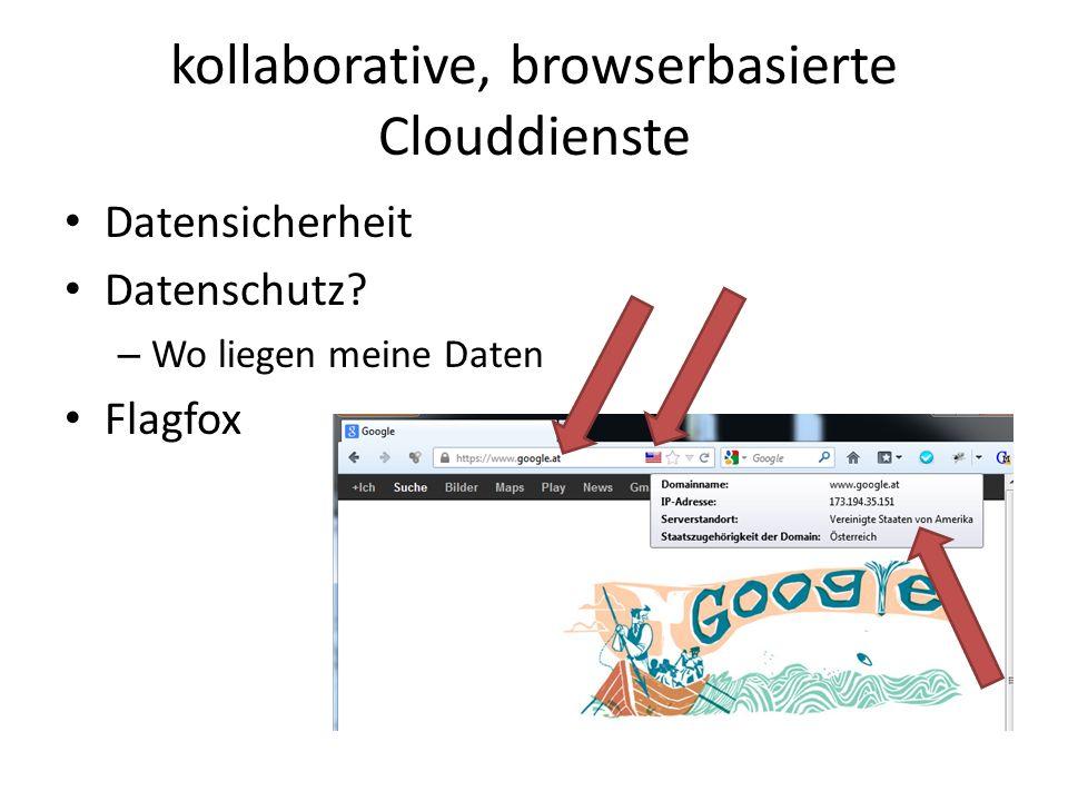 kollaborative, browserbasierte Clouddienste Datensicherheit Datenschutz? – Wo liegen meine Daten Flagfox
