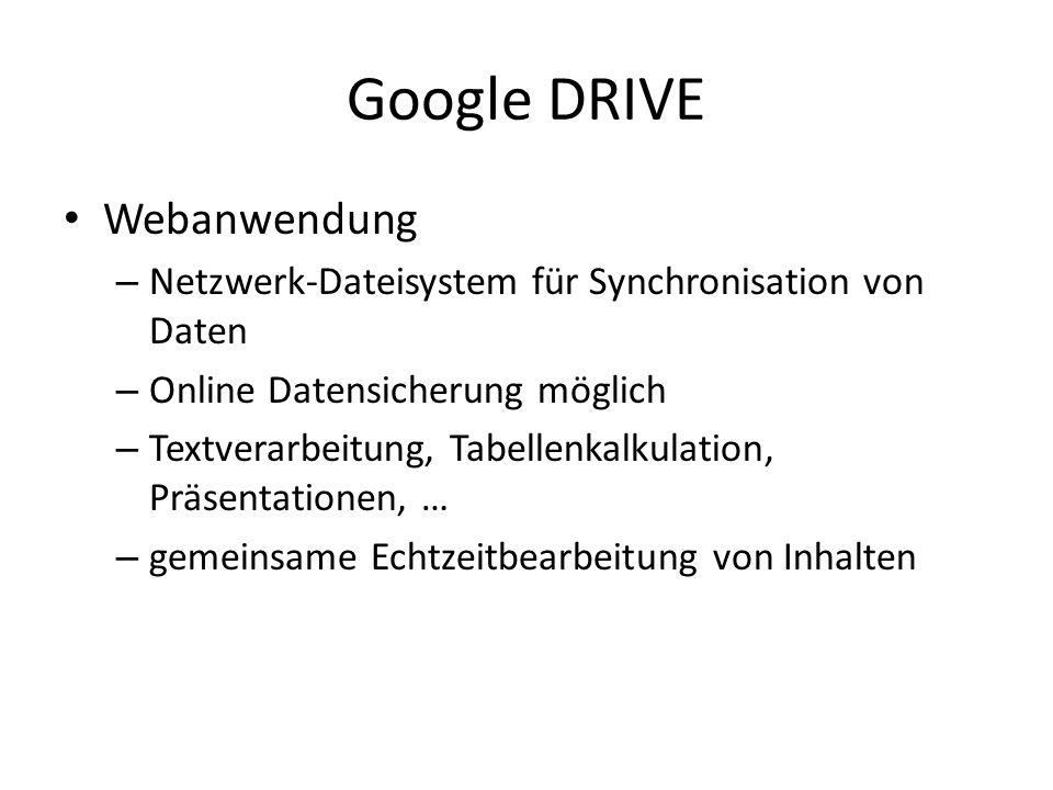 Google DRIVE Webanwendung – Netzwerk-Dateisystem für Synchronisation von Daten – Online Datensicherung möglich – Textverarbeitung, Tabellenkalkulation