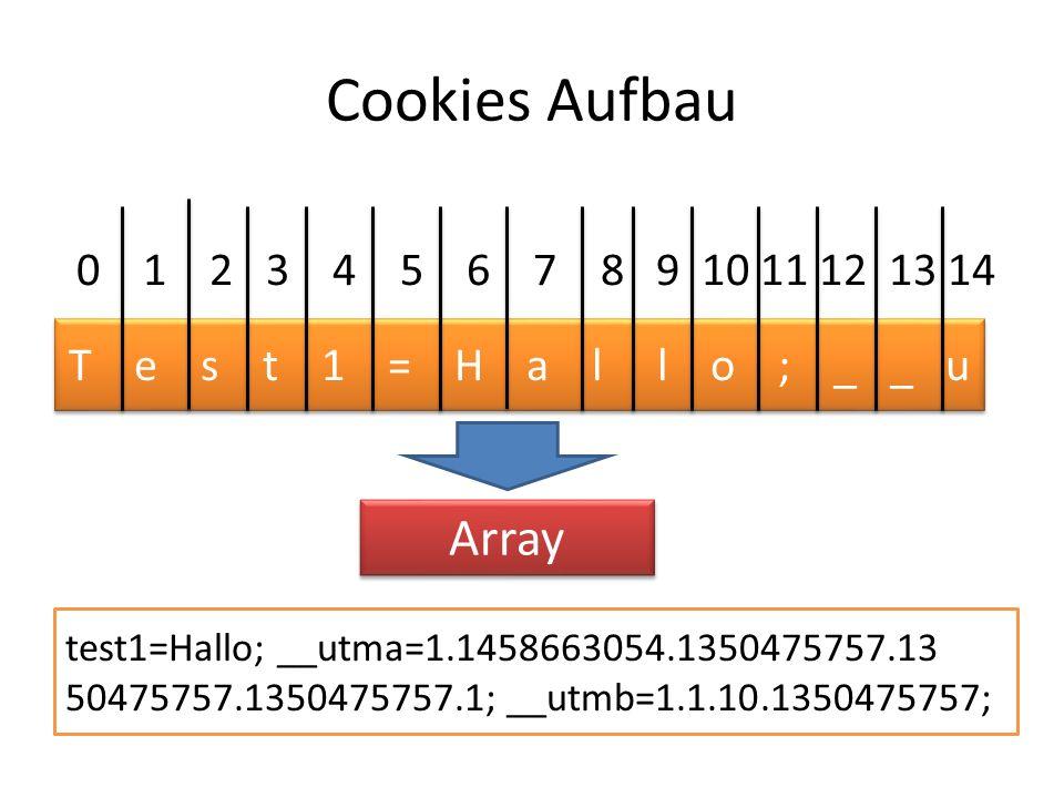 Cookies Aufbau test1=Hallo; __utma=1.1458663054.1350475757.13 50475757.1350475757.1; __utmb=1.1.10.1350475757; T e s t 1 = H a l l o ; _ _ u 0 1 2 3 4