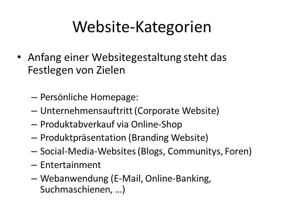 Website-Kategorien Anfang einer Websitegestaltung steht das Festlegen von Zielen – Persönliche Homepage: – Unternehmensauftritt (Corporate Website) –
