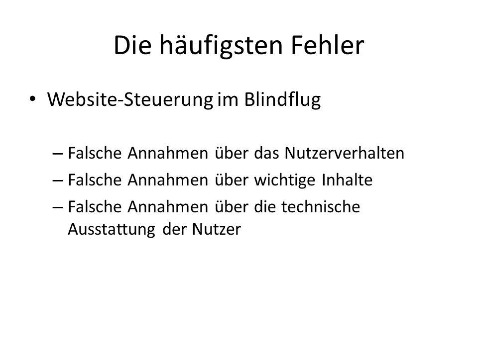 Die häufigsten Fehler Website-Steuerung im Blindflug – Falsche Annahmen über das Nutzerverhalten – Falsche Annahmen über wichtige Inhalte – Falsche An