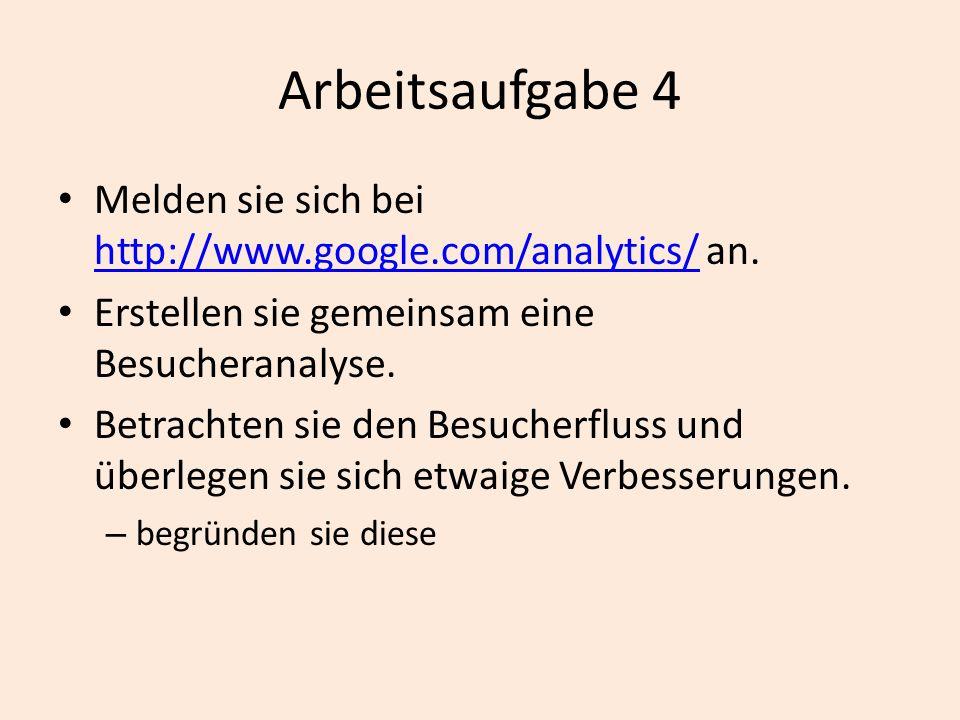 Arbeitsaufgabe 4 Melden sie sich bei http://www.google.com/analytics/ an. http://www.google.com/analytics/ Erstellen sie gemeinsam eine Besucheranalys