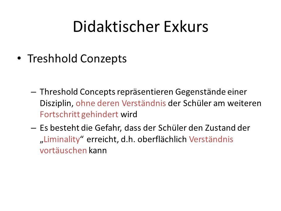 Didaktischer Exkurs Treshhold Conzepts – Threshold Concepts repräsentieren Gegenstände einer Disziplin, ohne deren Verständnis der Schüler am weiteren