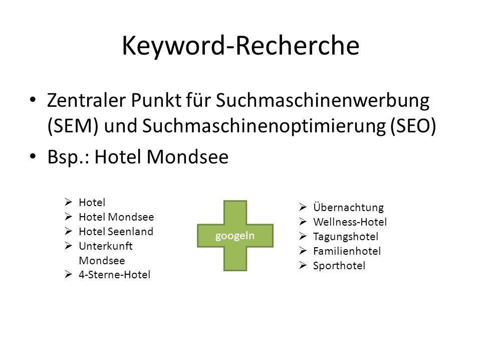 Zentraler Punkt für Suchmaschinenwerbung (SEM) und Suchmaschinenoptimierung (SEO) Bsp.: Hotel Mondsee Keyword-Recherche Hotel Hotel Mondsee Hotel Seen
