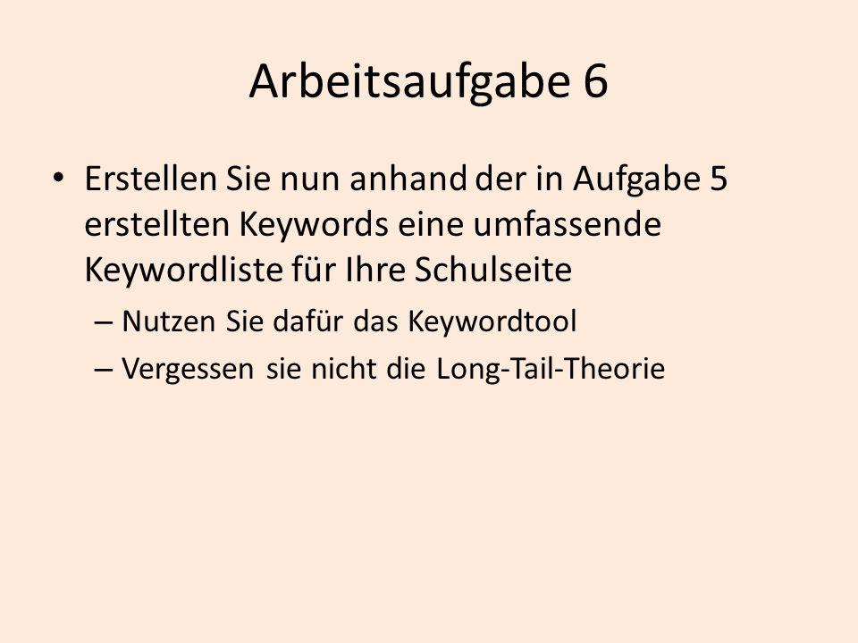 Erstellen Sie nun anhand der in Aufgabe 5 erstellten Keywords eine umfassende Keywordliste für Ihre Schulseite – Nutzen Sie dafür das Keywordtool – Ve