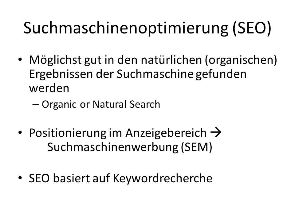 Suchmaschinenoptimierung (SEO) Möglichst gut in den natürlichen (organischen) Ergebnissen der Suchmaschine gefunden werden – Organic or Natural Search