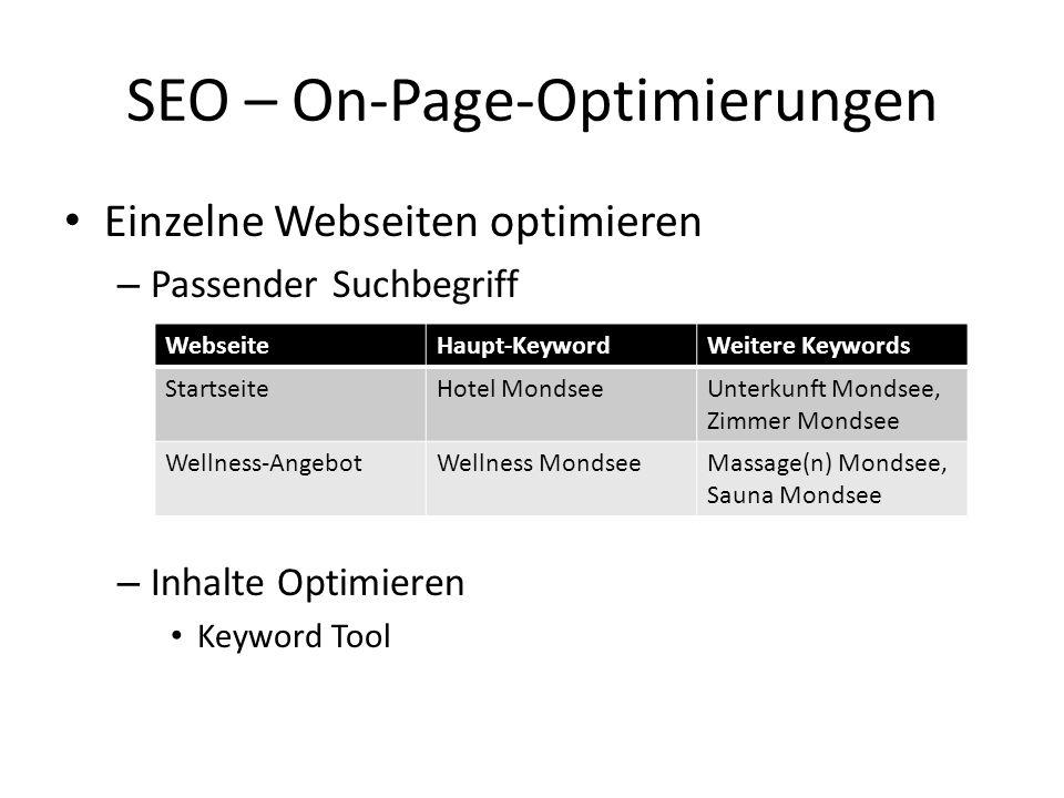 Einzelne Webseiten optimieren – Passender Suchbegriff – Inhalte Optimieren Keyword Tool SEO – On-Page-Optimierungen WebseiteHaupt-KeywordWeitere Keywo
