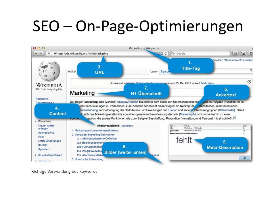 SEO – On-Page-Optimierungen Richtige Verwendung des Keywords