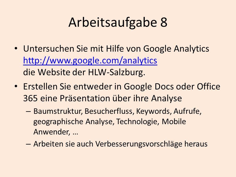 Arbeitsaufgabe 8 Untersuchen Sie mit Hilfe von Google Analytics http://www.google.com/analytics die Website der HLW-Salzburg. http://www.google.com/an