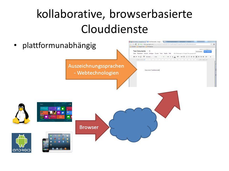 kollaborative, browserbasierte Clouddienste plattformunabhängig Browser Auszeichnungssprachen - Webtechnologien