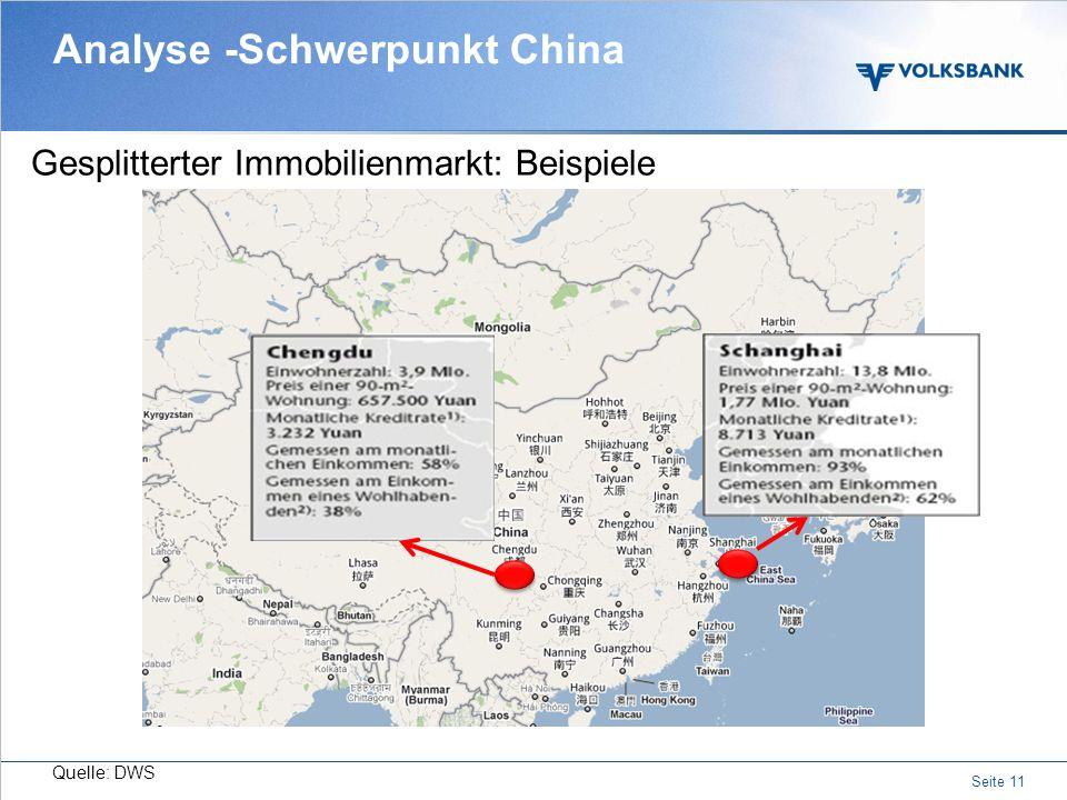 Seite 10 Chinesen mögen keine Schulden Analyse - Schwerpunkt China Quelle: Bloomberg/ACI