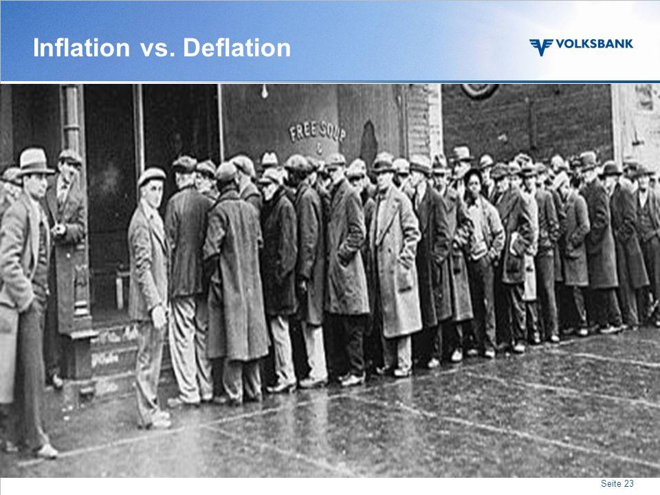 Seite 22 Themenübersicht Analyse der Regionen Staats- verschuldungen Spannungsfeld Eurozone Inflation vs. Deflation Inflation vs. Deflation