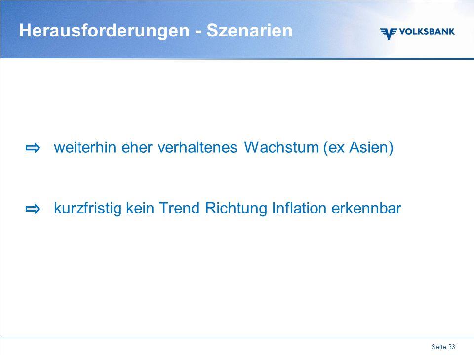 Herausforderungen - Szenarien Lösung der strukturellen Probleme SPAREN mit Augenmaß! Merkel vs. Obama Zerfall Eurozone wenig wahrscheinlich Seite 32