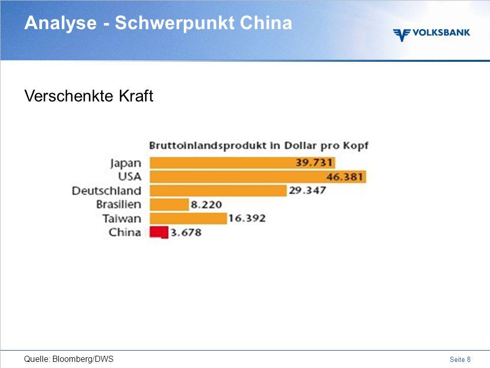 Seite 7 Analyse der Regionen Quelle: IWF Mit Wirtschaftswachstumsraten von über 9 Prozent lässt China die alte Welt noch älter aussehen. Wachstumsrate