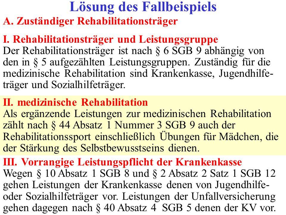 A. Zuständiger Rehabilitationsträger I. Rehabilitationsträger und Leistungsgruppe Der Rehabilitationsträger ist nach § 6 SGB 9 abhängig von den in § 5