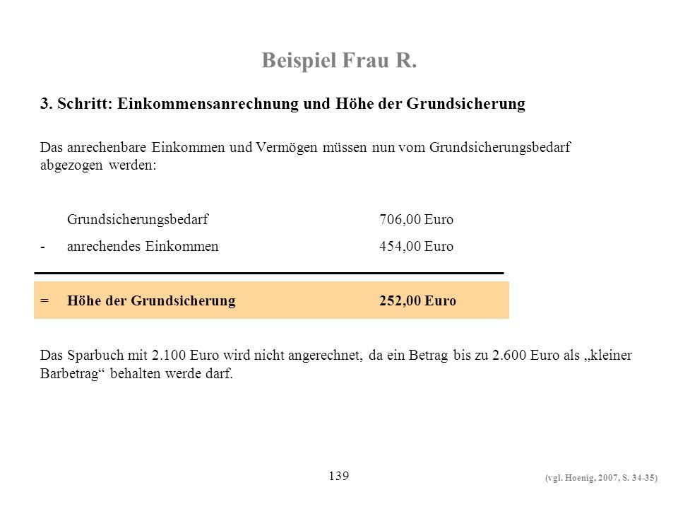 139 Beispiel Frau R. Das anrechenbare Einkommen und Vermögen müssen nun vom Grundsicherungsbedarf abgezogen werden: Grundsicherungsbedarf706,00 Euro -