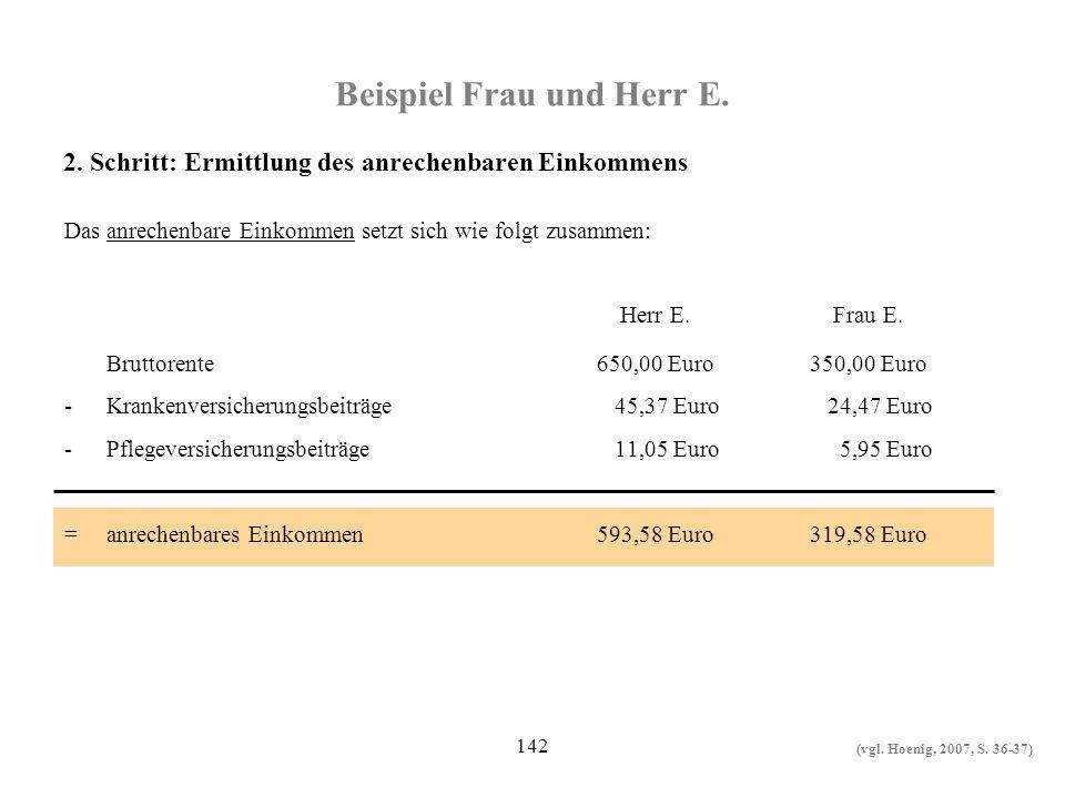 142 Beispiel Frau und Herr E. Das anrechenbare Einkommen setzt sich wie folgt zusammen: Herr E. Frau E. Bruttorente650,00 Euro350,00 Euro -Krankenvers
