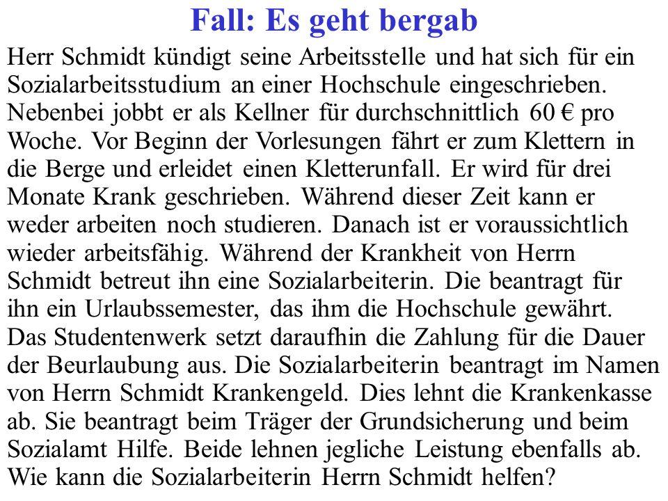 Fall: Es geht bergab Herr Schmidt kündigt seine Arbeitsstelle und hat sich für ein Sozialarbeitsstudium an einer Hochschule eingeschrieben. Nebenbei j