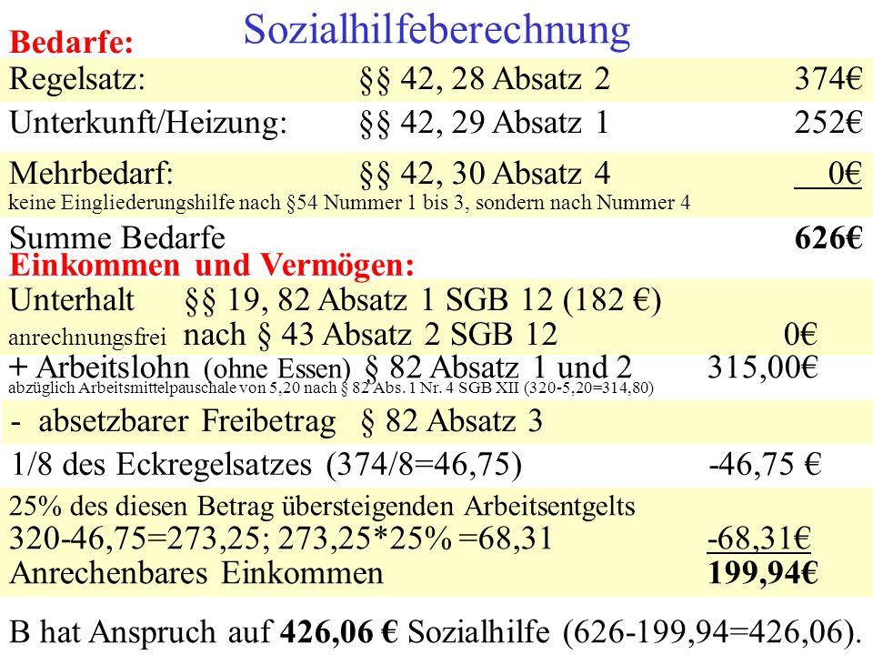 Bedarfe: Regelsatz:§§ 42, 28 Absatz 2 374 Unterkunft/Heizung:§§ 42, 29 Absatz 1252 Sozialhilfeberechnung Mehrbedarf:§§ 42, 30 Absatz 4 0 keine Einglie