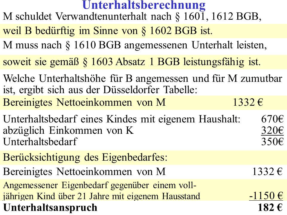 M schuldet Verwandtenunterhalt nach § 1601, 1612 BGB, weil B bedürftig im Sinne von § 1602 BGB ist. M muss nach § 1610 BGB angemessenen Unterhalt leis