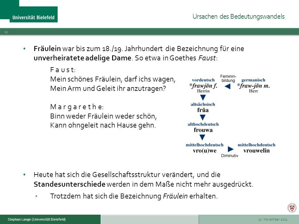 10. November 2011 19 Stephan Lange (Universität Bielefeld) Fräulein war bis zum 18./19. Jahrhundert die Bezeichnung für eine unverheiratete adelige Da