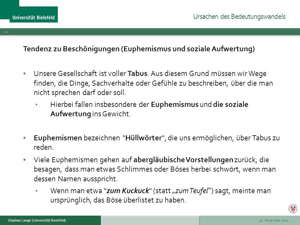 10. November 2011 21 Stephan Lange (Universität Bielefeld) Tendenz zu Beschönigungen (Euphemismus und soziale Aufwertung) Unsere Gesellschaft ist voll