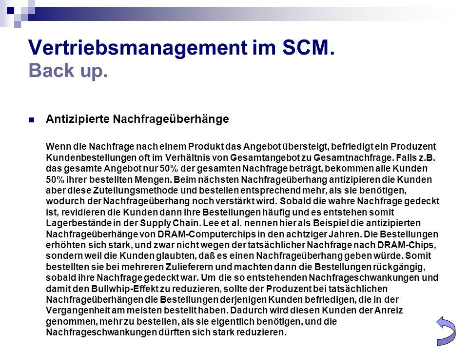 Vertriebsmanagement im SCM. Back up. Antizipierte Nachfrageüberhänge Wenn die Nachfrage nach einem Produkt das Angebot übersteigt, befriedigt ein Prod