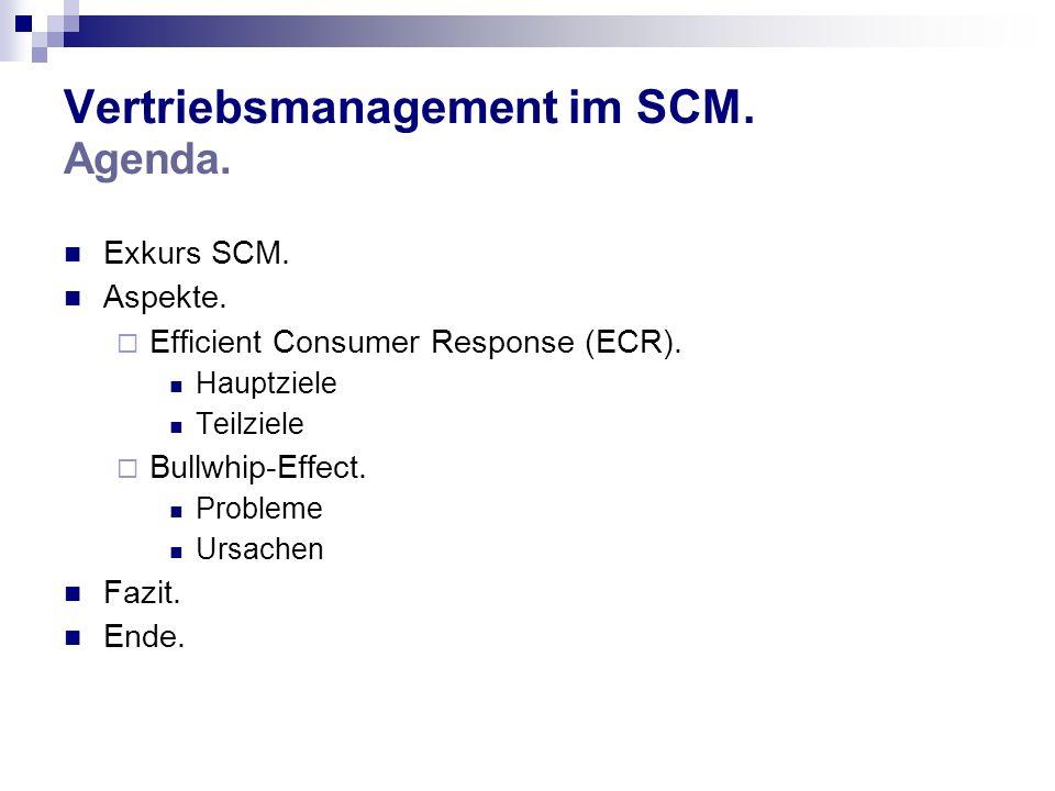 Vertriebsmanagement im SCM. Agenda. Exkurs SCM. Aspekte. Efficient Consumer Response (ECR). Hauptziele Teilziele Bullwhip-Effect. Probleme Ursachen Fa