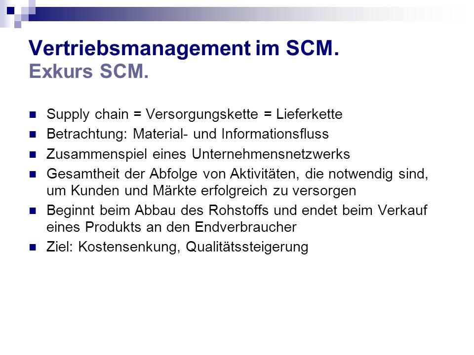 Vertriebsmanagement im SCM. Exkurs SCM. Supply chain = Versorgungskette = Lieferkette Betrachtung: Material- und Informationsfluss Zusammenspiel eines