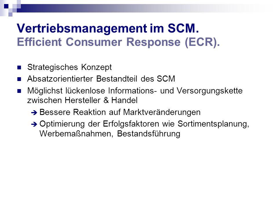 Vertriebsmanagement im SCM. Efficient Consumer Response (ECR). Strategisches Konzept Absatzorientierter Bestandteil des SCM Möglichst lückenlose Infor