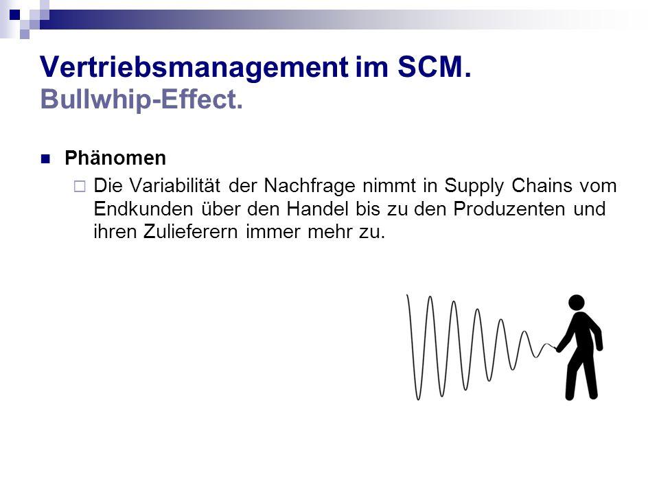 Vertriebsmanagement im SCM. Bullwhip-Effect. Phänomen Die Variabilität der Nachfrage nimmt in Supply Chains vom Endkunden über den Handel bis zu den P