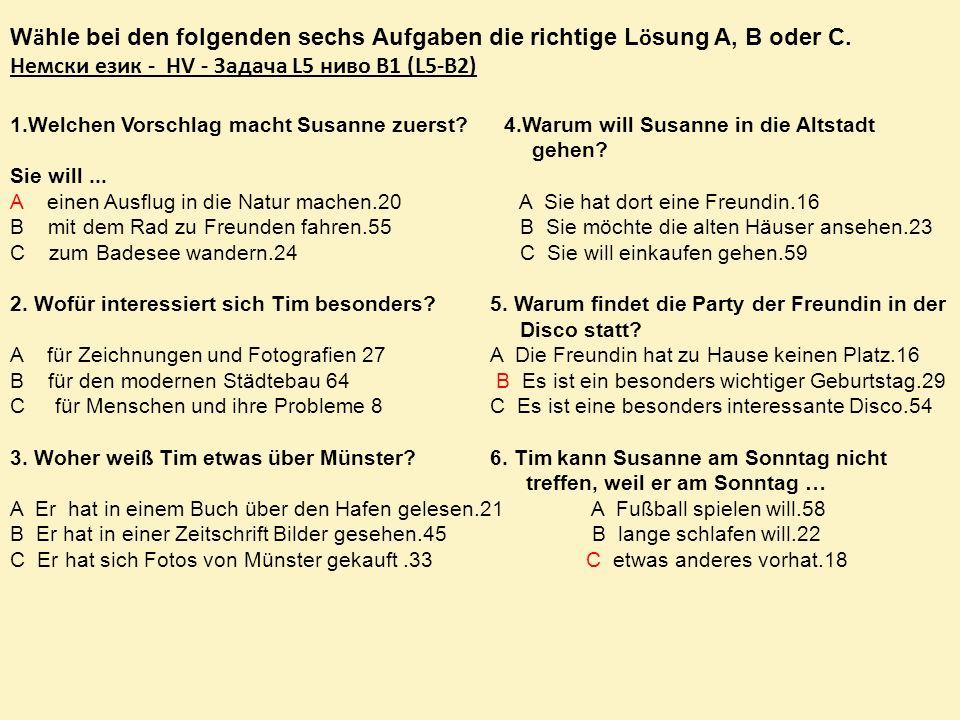 1.Welchen Vorschlag macht Susanne zuerst.4.Warum will Susanne in die Altstadt gehen.