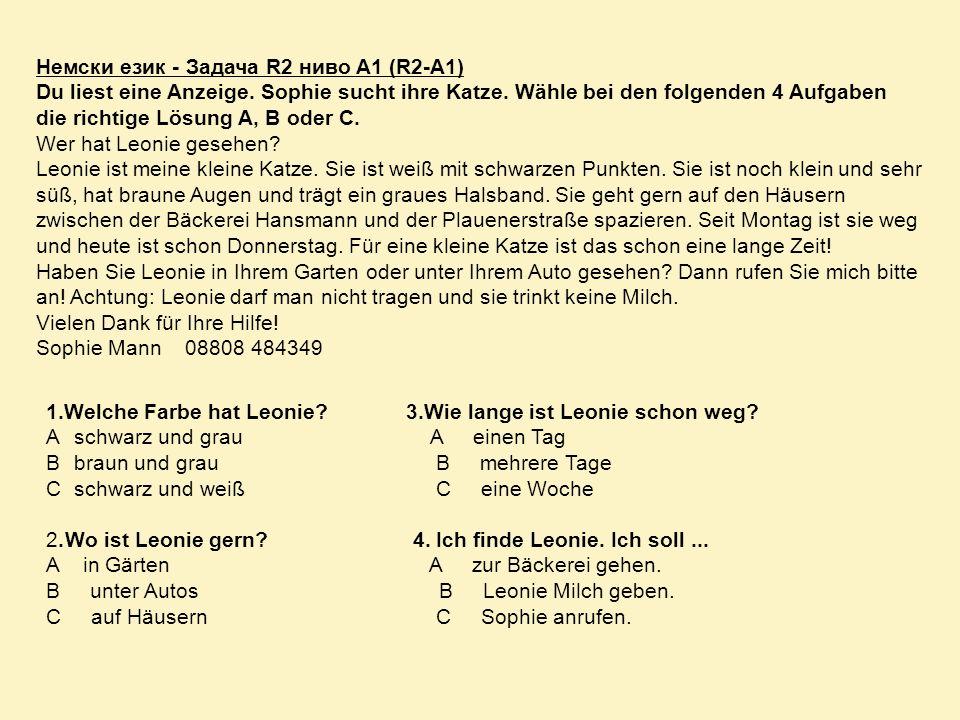 Немски език - Задача R2 ниво A1 (R2-A1) Du liest eine Anzeige. Sophie sucht ihre Katze. Wähle bei den folgenden 4 Aufgaben die richtige Lösung A, B od