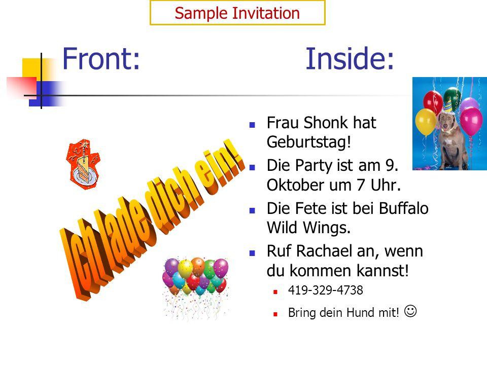Front:Inside: Frau Shonk hat Geburtstag.Die Party ist am 9.