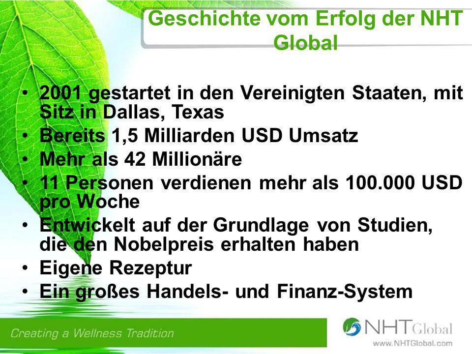 Geschichte vom Erfolg der NHT Global 2001 gestartet in den Vereinigten Staaten, mit Sitz in Dallas, Texas Bereits 1,5 Milliarden USD Umsatz Mehr als 42 Millionäre 11 Personen verdienen mehr als 100.000 USD pro Woche Entwickelt auf der Grundlage von Studien, die den Nobelpreis erhalten haben Eigene Rezeptur Ein großes Handels- und Finanz-System