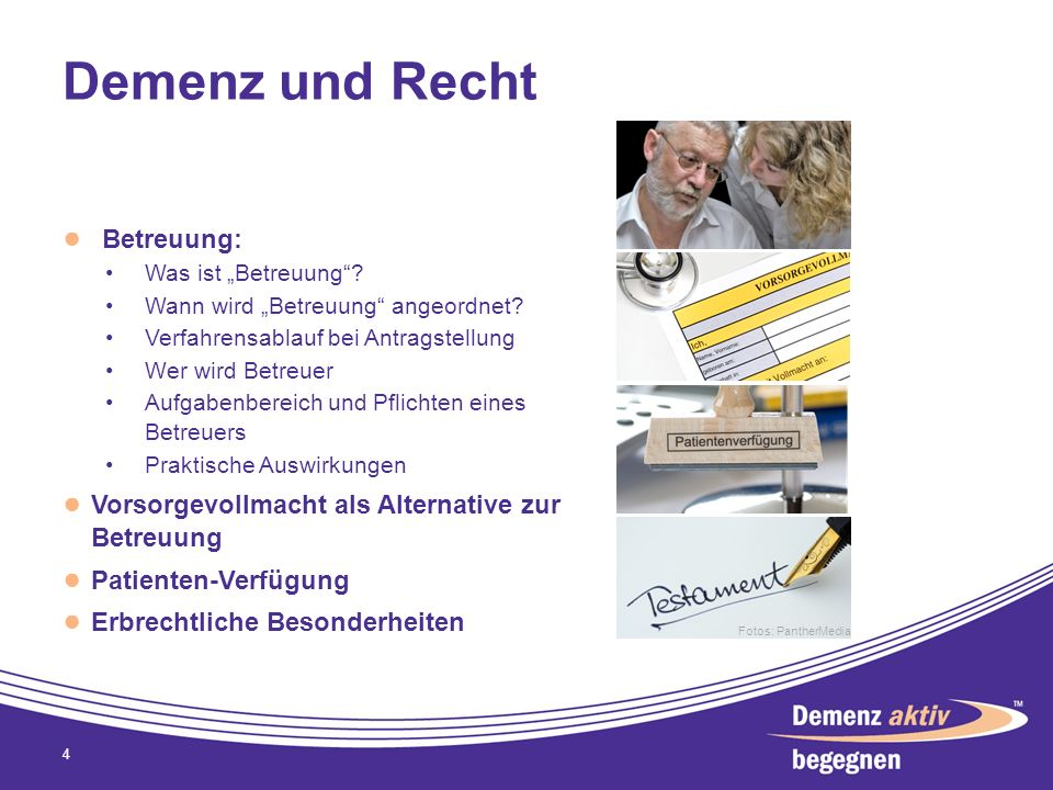 Demenz und Recht Betreuung: Was ist Betreuung? Wann wird Betreuung angeordnet? Verfahrensablauf bei Antragstellung Wer wird Betreuer Aufgabenbereich u